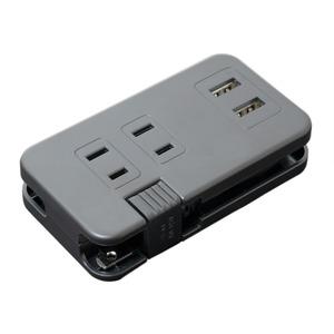ミヨシ ACコンセント搭載 USB2ポートUSB-ACアダプタ ブラック IPA-24AC2/BKの画像1