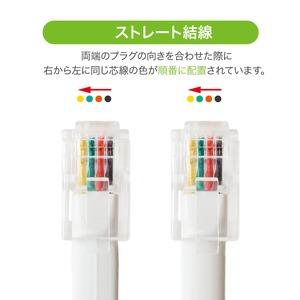 ミヨシ 4極4芯 受話器用カールコード ストレート結線タイプ 30cm ホワイト DC-J403S/WH 【10本セット】
