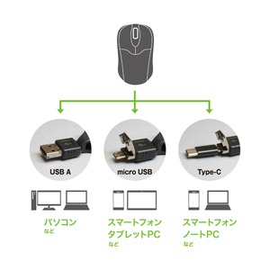 ミヨシ コードリールケーブル モバイルミニマウス USB A / micro B / Type-C対応 SRM-MC01/SL