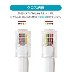 ミヨシ 4極4芯 受話器用カールコード クロス結線 約1.0m DC-J410/WH 【10本セット】