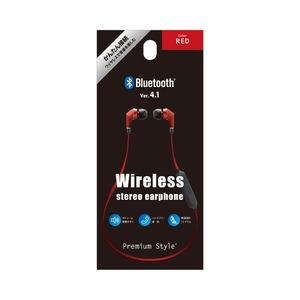 PGA Bluetooth 4.1搭載 ワイヤレス ステレオ イヤホン レッド PG-BTE1S03