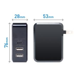 ミヨシ USB PD対応 USB-ACアダプタ 3ポートタイプ ブラック IPA-C02/BK