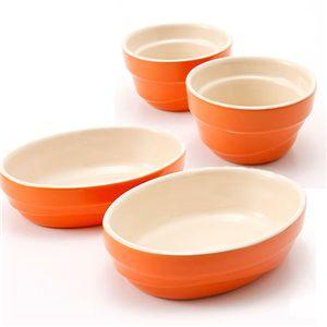 Le Creuset(ル・クルーゼ) ウェーブライン ストーンウェアセット (ラムカン2個&オーバルディッシュ2枚) オレンジ