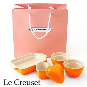 Le Creuset(ル・クルーゼ) ストーンウェア ギフトバッグ入り 4点セット タンジェリンオレンジ