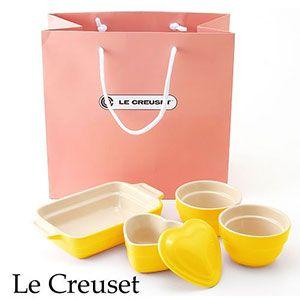 Le Creuset(ル・クルーゼ) ストーンウェア ギフトバッグ入り 4点セット レモン