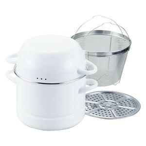 ホワイトキッチン ホーロー パスタ&蒸し鍋22cm〈ザル・目皿付〉 AK-06  - 拡大画像