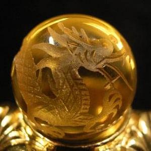 手彫り黄水晶ドラゴンボール 手彫り黄水晶ドラゴンボール