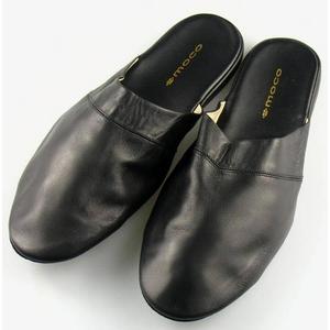 靴職人が考案した手作り総革スリッパ ブラック Lサイズ
