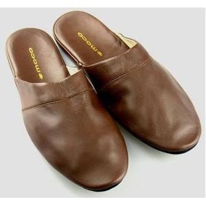 靴職人が考案した手作り総革スリッパ ブラウン Lサイズ