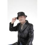 【G・ガリアーノ】折りたためる柔らかラム革帽子 ブラック Lサイズ