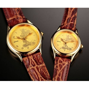 ミッキーマウス 時計24金仕上げ文字盤 腕時計【レディース】 - 拡大画像