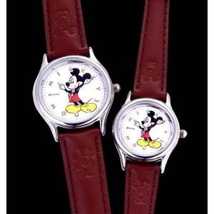 ミッキーマウス 皮腕時計【メンズ】 - 拡大画像