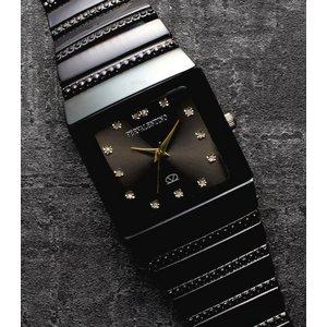 ペレバレンチノ ダイヤモンドミラノ腕時計 ブラック レディース - 拡大画像