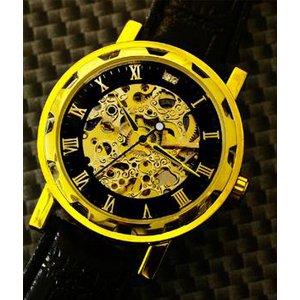 Homberger(オムバーガー)クラシックダブルスケルトン手巻き腕時計 ゴールド h01