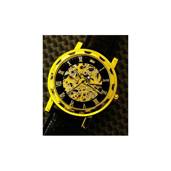 Homberger(オムバーガー)クラシックダブルスケルトン手巻き腕時計 ゴールドf00