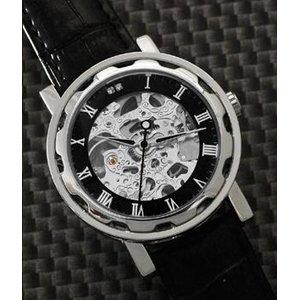 Homberger(オムバーガー)クラシックダブルスケルトン手巻き腕時計 シルバー - 拡大画像