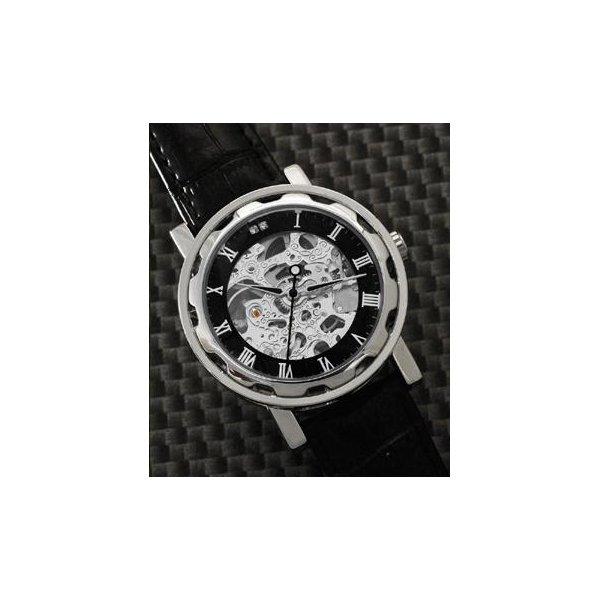 Homberger(オムバーガー)クラシックダブルスケルトン手巻き腕時計 シルバーf00