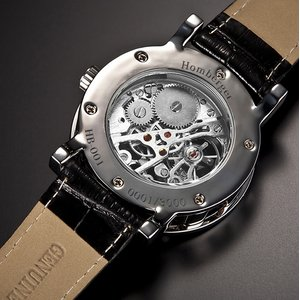 Homberger(オムバーガー)クラシックダブルスケルトン手巻き腕時計 シルバー f04