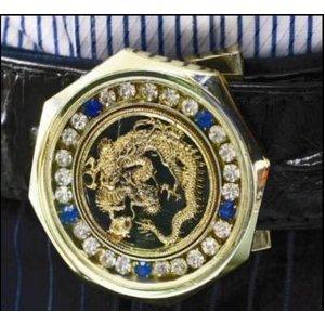 ダイヤモンドドラゴン最高級クロコダイル革ベルト バックル:ゴールド/ベルト:ブラック