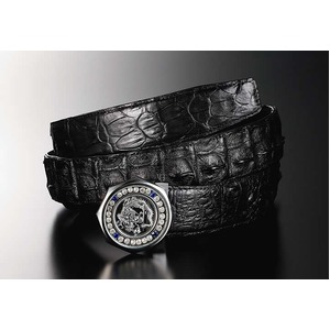 ダイヤモンドドラゴン最高級クロコダイル革ベルト バックル:シルバー/ベルト:ブラック