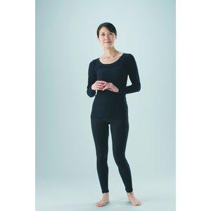 ほっと綿のびのびインナー8分袖  【2枚セット】ブラックM-LL - 拡大画像