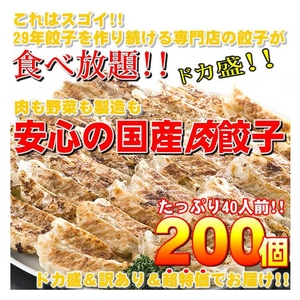 【訳あり】専門店の安心国産餃子200個!!40人前!!