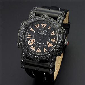 Dolce Medio(ドルチェ・メディオ) DM11211-IPBKPG ブラック(ピンクゴールド文字)×ブラック 腕時計 - 拡大画像