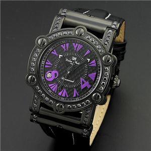 Dolce Medio(ドルチェ・メディオ) DM11211-IPBKPL ブラック(パープル文字)&ブラック 腕時計 - 拡大画像