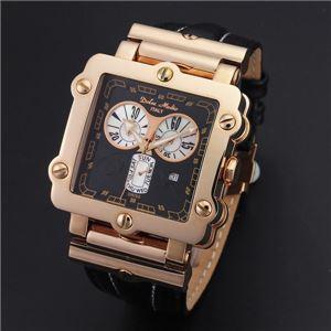Dolce Medio(ドルチェ・メディオ) DM8018PGBK ブラック×ピンクゴールド&ブラック 腕時計 - 拡大画像