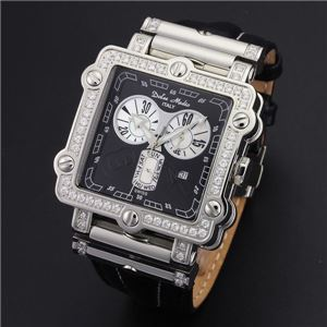 Dolce Medio(ドルチェ・メディオ) DM8018QZBK ブラック×シルバー&ブラック 腕時計 - 拡大画像