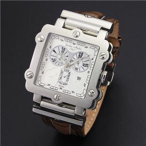 Dolce Medio(ドルチェ・メディオ) DM8018WHBR ホワイト×シルバー&ブラウン 腕時計 - 拡大画像