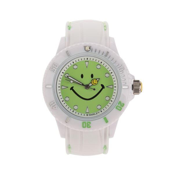 SMILEY(スマイリー) シリコン&ステッチベルト ウォッチ ライトグリーン WC-HBSIL-WGRf00
