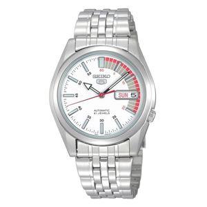 腕時計 SEIKO 5 (セイコー ファイブ)オートマチック デイデイト 逆輸入 海外モデル 日本製 ホワイト×シルバー SNK369JC - 拡大画像
