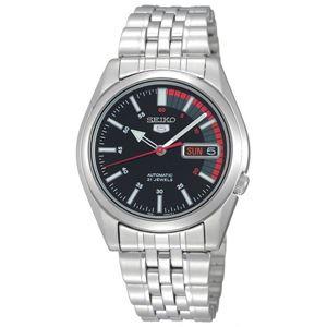腕時計 SEIKO 5 (セイコー ファイブ)オートマチック デイデイト 逆輸入 海外モデル 日本製 ブラック×シルバー SNK375JC - 拡大画像