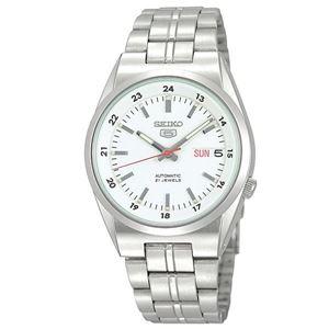 腕時計 SEIKO 5 (セイコー ファイブ)オートマチック デイデイト 逆輸入 海外モデル 日本製 ホワイト×シルバー SNK559JC - 拡大画像