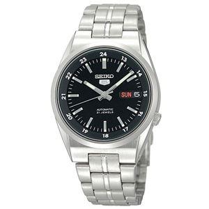 腕時計 SEIKO 5 (セイコー ファイブ)オートマチック デイデイト 逆輸入 海外モデル 日本製 ブラック×シルバー SNK567JC