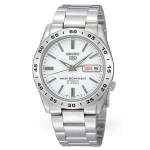 腕時計 SEIKO 5 (セイコー ファイブ)オートマチック デイデイト 逆輸入 海外モデル 日本製 ホワイト×シルバー SNKD97JC - 拡大画像