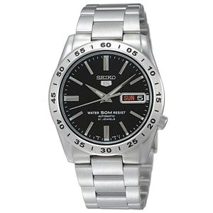腕時計 SEIKO 5 (セイコー ファイブ)オートマチック デイデイト 逆輸入 海外モデル 日本製 ブラック×シルバー SNKE01JC - 拡大画像