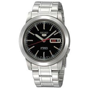 腕時計 SEIKO 5 (セイコー ファイブ)オートマチック デイデイト 逆輸入 海外モデル 日本製 ブラック×シルバー SNKE53JC - 拡大画像