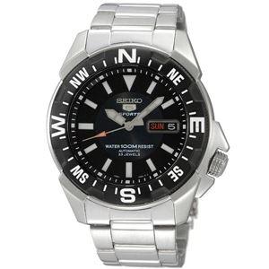 腕時計 SEIKO 5 SPORTS(セイコー ファイブ スポーツ) オートマチック デイデイト 逆輸入 海外モデル 日本製 ブラック×シルバー SNZE81JC - 拡大画像