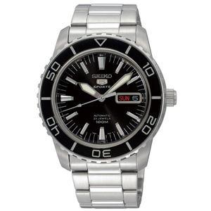 腕時計 SEIKO 5 SPORTS(セイコー ファイブ スポーツ) オートマチック デイデイト 逆輸入 海外モデル 日本製 ブラック×シルバー(シルバー) SNZH55JC - 拡大画像