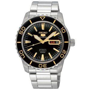 腕時計 SEIKO 5 SPORTS(セイコー ファイブ スポーツ) オートマチック デイデイト 逆輸入 海外モデル 日本製 ブラック×シルバー(ゴールド) SNZH57JC - 拡大画像