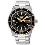 腕時計 SEIKO 5 SPORTS(セイコー ファイブ スポーツ) オートマチック デイデイト 逆輸入 海外モデル 日本製 ブラック×シルバー(ゴールド) SNZH57JC