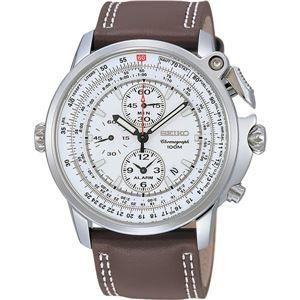 腕時計 SEIKO(セイコー) アラームクロノ デイト 逆輸入 海外モデル ホワイト×ブラウン SNAB71PC - 拡大画像