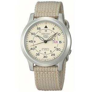 腕時計 SEIKO 5 (セイコー ファイブ)オートマチック デイデイト 逆輸入 海外モデル 日本製 ベージュ×ベージュ SNK803KD - 拡大画像
