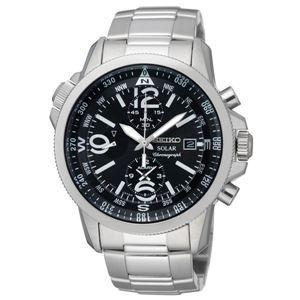 腕時計 SEIKO(セイコー) ソーラー アラームクロノ 逆輸入 海外モデル ブラック×シルバー SSC075PC - 拡大画像
