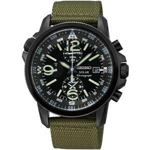 腕時計 SEIKO(セイコー) ソーラー アラームクロノ 逆輸入 海外モデル ブラック×グリーン SSC137PC - 拡大画像