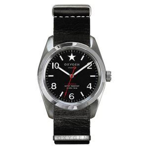 OXYGEN(オキシゲン) 腕時計 Sport 38(スポーツ38) Washington(ワシントン) NATO Leather ブラック