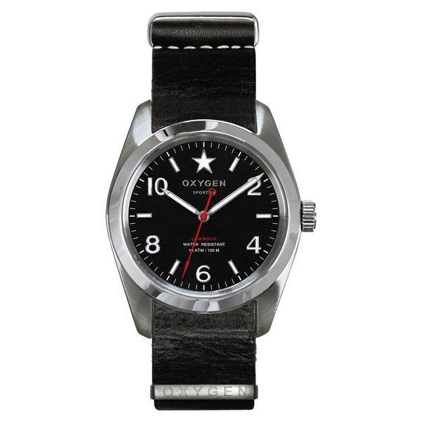 OXYGEN(オキシゲン) 腕時計 Sport 38(スポーツ38) Washington(ワシントン) NATO Leather ブラックf00