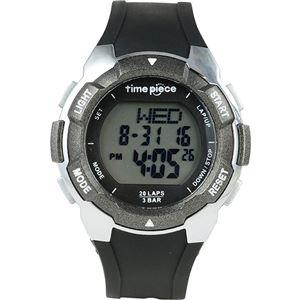 Time Piece(タイムピース) 腕時計 ランニングウォッチ 20LAP デジタル ブラック/グレー TPW-004BK - 拡大画像